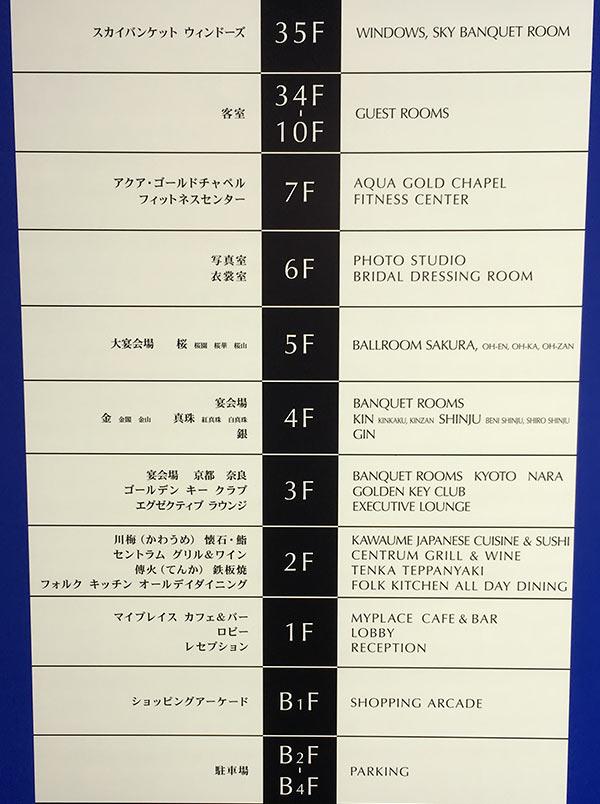 ヒルトン大阪のフロア案内